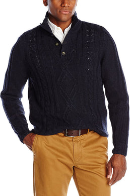 Men's Haggar Fisherman Knit Quarter Button Front Mock Neck Sweater in Navy from the front view