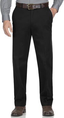 Men's Haggar Genuine Plain-Front Pant in Black from the front view