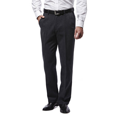 Men's Haggar Heathered Corduroy Classic Fit Plain Front Pant in Black from the front view