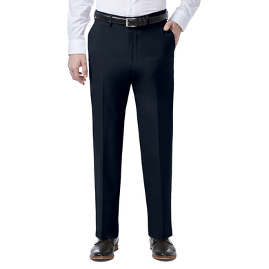 Men's Haggar J.M. 4 Way Stretch Classic Fit Flat Front Dress Pant in Indigo from the front view