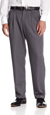 Men's Haggar J.M. Dress Classic Fit Flat Front Pant - Sharkskin in Grey from the front view