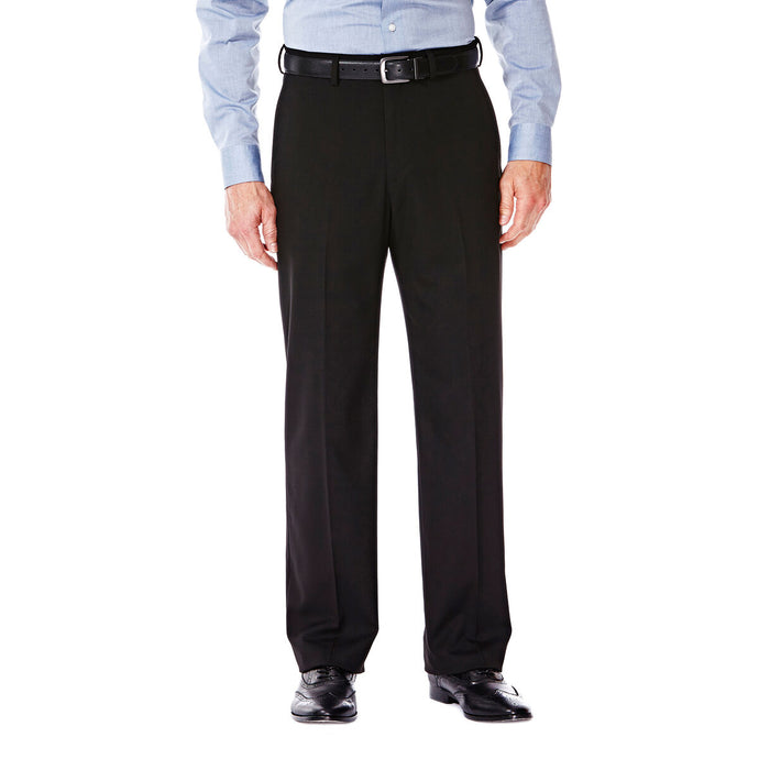 Men's Haggar J.M. Premium Stretch Classic Fit Flat Front Suit Pant in Black from the front view