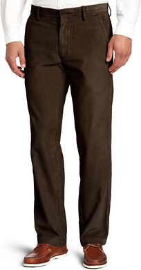 Men's Haggar Life Khaki Corduroy Plain Front Chino Pant in Dark Chocolate from the front view