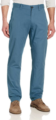 Men's Haggar Life Khaki Lightweight Slim Fit Flat Front Chino Pant in Marine from the front view