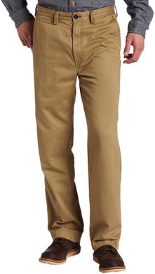Men's Haggar Life Khaki Relaxed Fit Flat Front Chino Pant in Camel from the front view