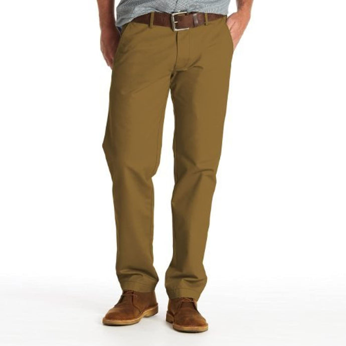 Men's Haggar Life Khaki Slim Fit Flat Front Chino Casual Pant in Khaki from the front view