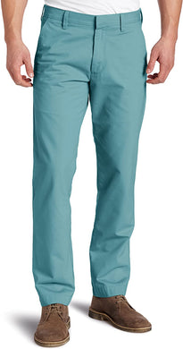 Men's Haggar Life Khaki Slim Fit Flat Front Chino Pant in Turquoise from the front view