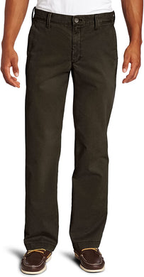 Men's Haggar Life Khaki Straight Fit Flat Front Chino Pant in Dark Chocolate from the front view