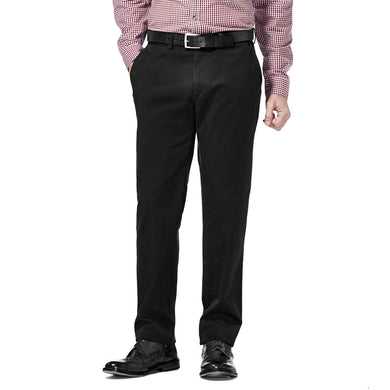 Men's Haggar Life Khaki Sustainable Slim Fit Flat Front Chino Pant in Black from the front view