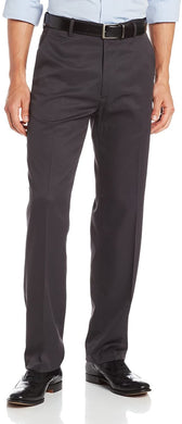 Men's Haggar Micro Herringbone Straight Fit Plain Front Dress Pant in Charcoal from the front view
