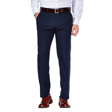 Men's Haggar Performance Micro Melange Slim Fit Plain Front Slack in Dark Navy from the front view
