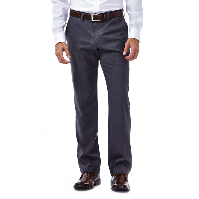 Men's Haggar Performance Microfiber Slim Fit Flat Front Heather Slack in Medium Grey from the front view