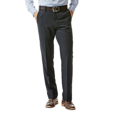 Men's Haggar Performance Microfiber Straight Fit Flat Front Slack in Black from the front view