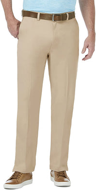Men's Haggar Performance Plain Cool 18 Pro Golf Pant in Khaki from the front view