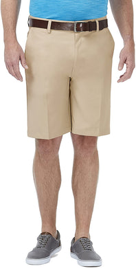 Men's Haggar Performance Plain Pro Casual Golf Short in Khaki from the front view