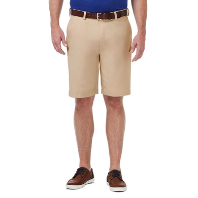 Men's Haggar Performance Plain Pro Golf Short in Khaki from the front view