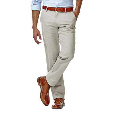 Men's Haggar Performance Straight Fit Flat Front Khaki Pant in Ash from the front view
