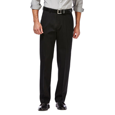 Men's Haggar Premium No Iron Classic Fit Flat Front Khaki Pant in Black from the front view