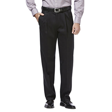 Men's Haggar Premium No Iron Classic Fit Pleated Front Khaki Pant in Black from the front view