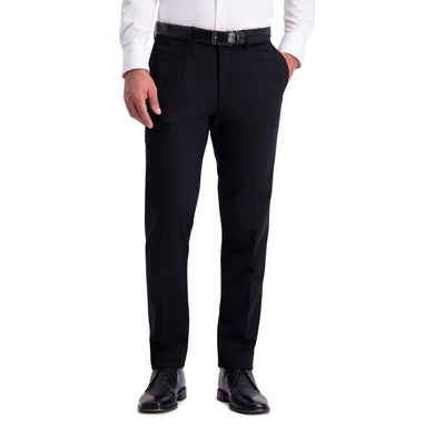Men's Haggar Premium No Iron Slim Fit Flat Front Khaki Pant in Black from the front view