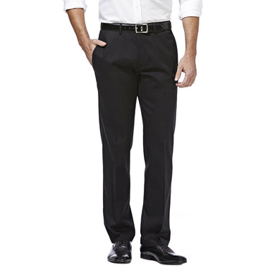 Men's Haggar Premium No Iron Straight Fit Flat Front Khaki Pant in Black from the front view