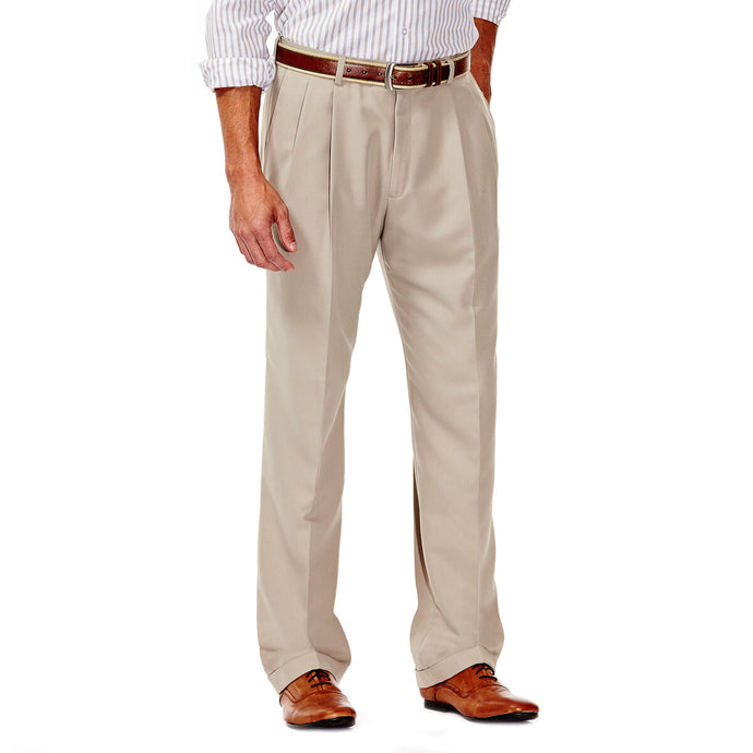 Men's Haggar Smart Fiber Herringbone Classic Fit Pleated Front Dress Pant in Stone from the front view