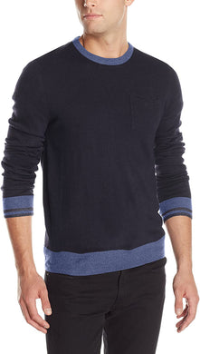 Men's Haggar Solid Crew Neck with Pocket Sweater in Navy from the front view