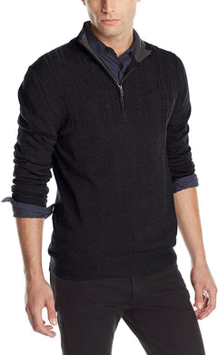 Men's Haggar Solid Stitched-Yoke Quarter-Zip Sweater in Black from the front view