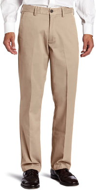 Men's Haggar Standard Khaki Plain Front Chino Casual Pant in Flax from the front view