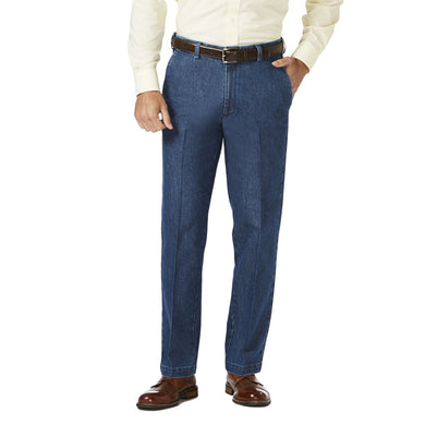 Men's Haggar Stretch Classic Fit Flat Front Denim Trouser in Medium Blue from the front view