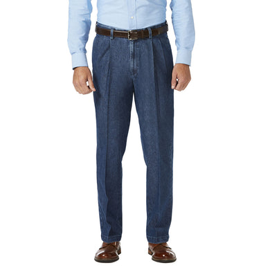 Men's Haggar Stretch Classic Fit Pleated Front Denim Trouser in Medium Blue from the front view