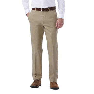 Men's Haggar Stretch Colored Classic Fit Flat Front Denim Pant in Khaki from the front view
