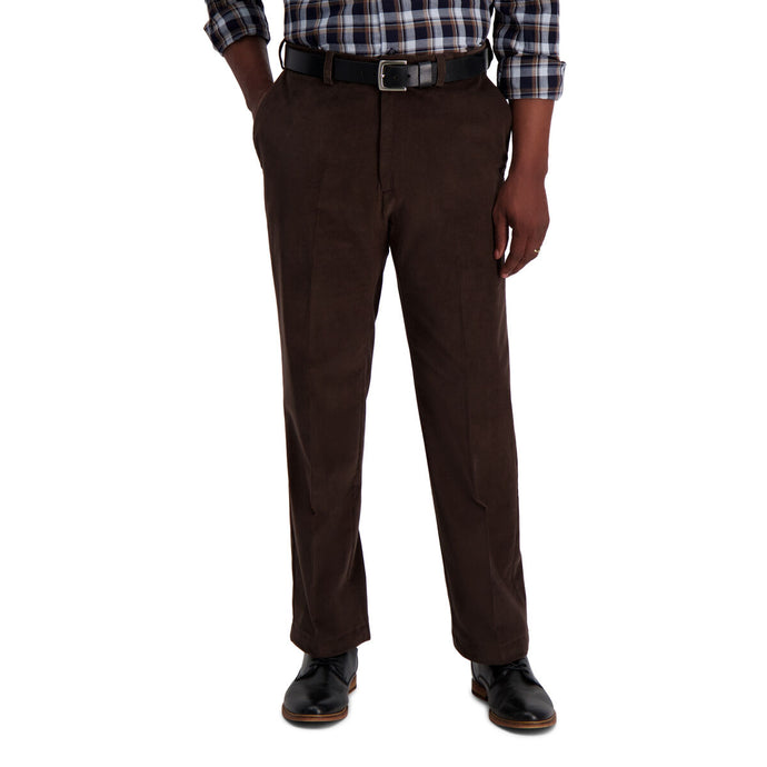 Men's Haggar Stretch Corduroy Classic Fit Flat Front Pant in Brown from the front view
