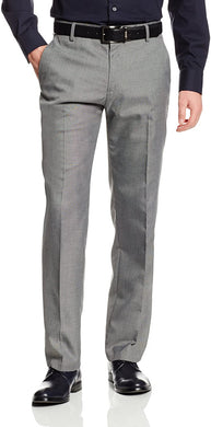 Men's Haggar Stria Slim Fit Flat Front Suit Separate Pant in Grey from the front view
