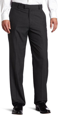 Men's Haggar Textured Pinstripe Tailored Fit Plain Front Suit Separate Pant in Charcoal Heather from the front view