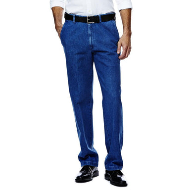Men's Haggar Work to Weekend Classic Fit Flat Front Denim Pant in Light Stonewash from the front view