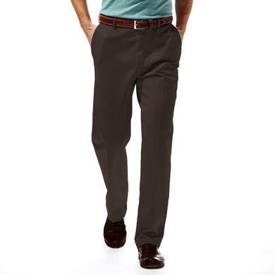 Men's Haggar Work to Weekend Classic Fit Flat Front Khaki Pant in Bean from the front view