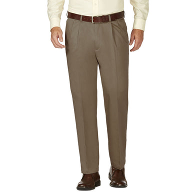 Men's Haggar Work to Weekend Classic Fit Pleated Front Khaki Pant in Bark from the front view