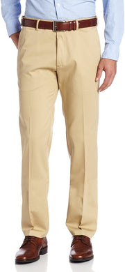 Men's Haggar Work to Weekend Slim Fit Flat Front Khaki Pant in Natural from the front view
