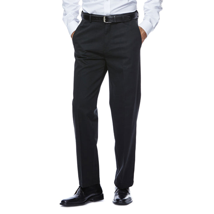 Men's Haggar Work to Weekend Straight Fit Flat Front Khaki Pant in Black from the front view