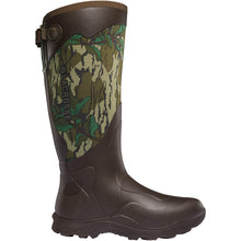 "Load image into Gallery viewer, LaCrosse Men's Alpha Agility 17"" Waterproof Hunting Boot in Mossy Oak Green Leaf from the side"