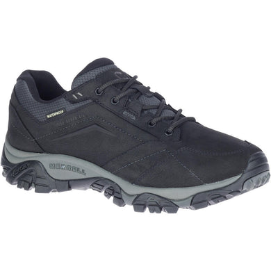 Merrell Men's Moab Adventure Lace Waterproof Hiking Shoe in Black from the side