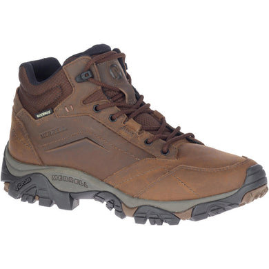 Merrell Men's Moab Adventure Mid Waterproof Hiking Boot in Dark Earth from the side