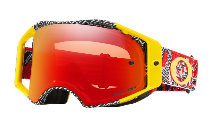 Men's Oakley Airbrake MX Goggle in Dazzle Dyno Red Yellow/Prizm MX Torch Iridium from the front view