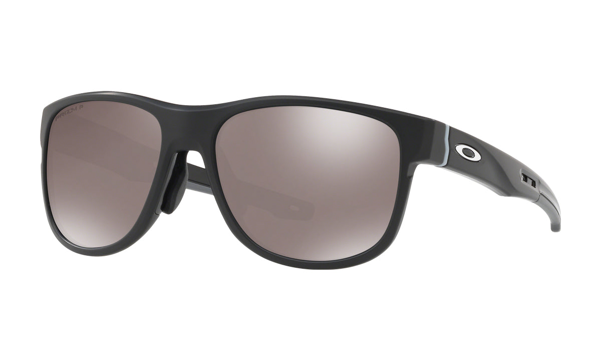 Men's Oakley Crossrange R Asia Fit Sunglasses in Matte Black/Prizm Black Polarized from the front view