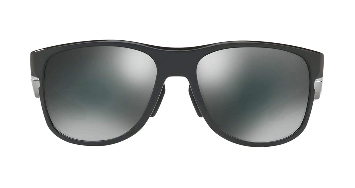Men's Oakley Crossrange R Asia Fit Sunglasses in Polished Black/Black Iridium from the front view
