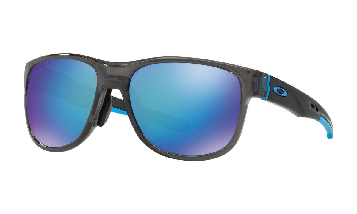 Men's Oakley Crossrange R Asia Fit Sunglasses in Grey Smoke/Prizm Sapphire Polarized from the front view