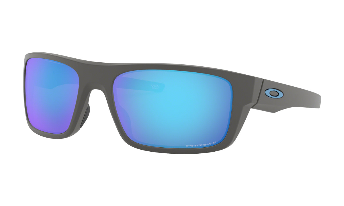 Men's Oakley Drop Point Sunglasses in Matte Dark Grey/Prizm Sapphire Polarized from the front view
