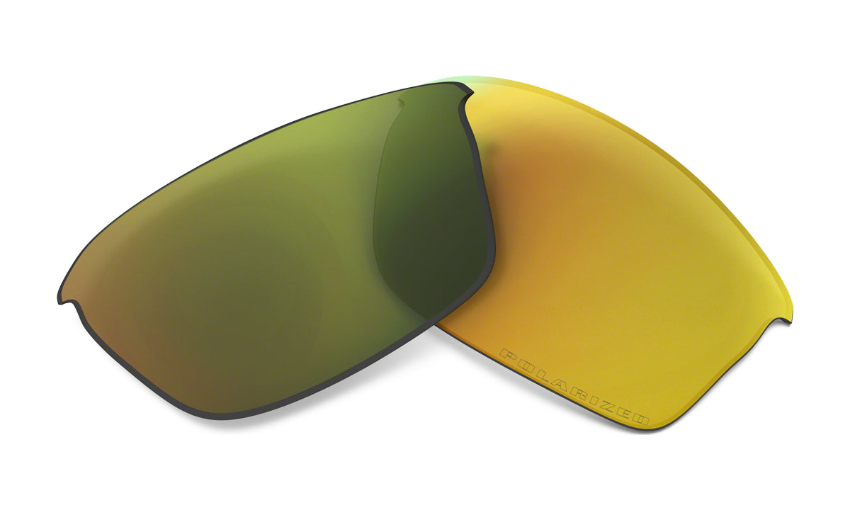 Men's Oakley Flak Jacket Replacement Lens in Fire Iridium Polarized from the front view