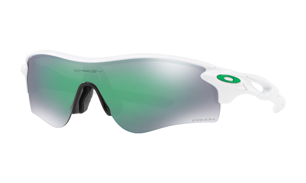 Men's Oakley RadarLock Path Asia Fit Sunglasses in Polished White/Prizm Jade from the front view